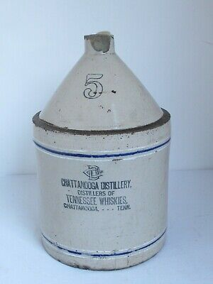 Antique Stoneware Chattanooga Distillery Tennessee Whiskey Jug 5 Gallon