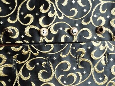 "Men's Regency style Waistcoat, 40"" chest, black with gold design, Steampunk."