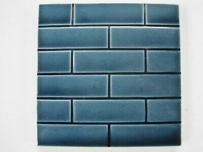 Antique Victorian Mintons Moulded Brick Pattern Tile Regency Blue C1868 - 1900