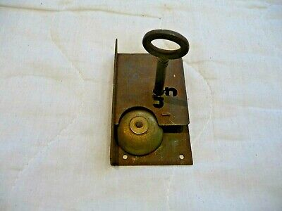 Antique Cupboard Door/Draw Lock With Warning Bell Original Key Early Security