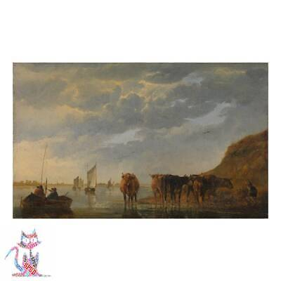 Aelbert Cuyp - A Herdsman With Five Cows By A River Canvas