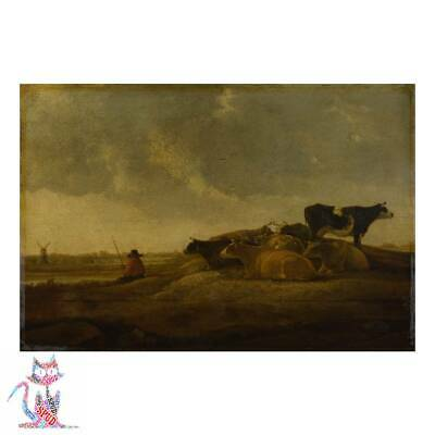 Style Aelbert Cuyp - A Herdsman With Seven Cows By A River Canvas