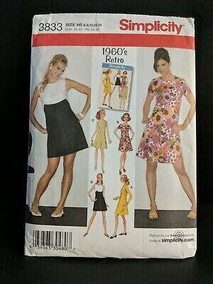 Simplicity Sewing Pattern 3833 Cute Retro 60's Dresses Misses' Size 6,8,10,12,14