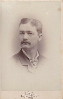Cabinet Card Great Ad,Stockton,Ca,View,Photographer,Gentleman,Mustache,Tie Tack