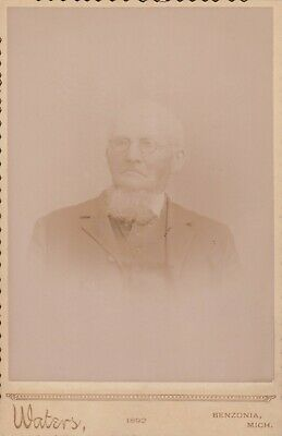 Cabinet Card Older Gentleman Gray Goatee,Wire Rim Glasses,Benzonia,Mich 1892