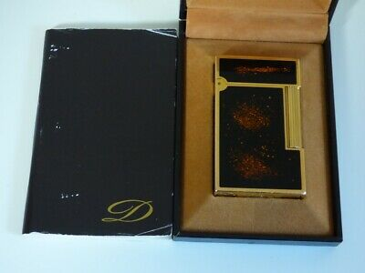 S T Dupont L2 Large Lighter - Black Lacquer/Goldust with Gold Plated Trim Boxed