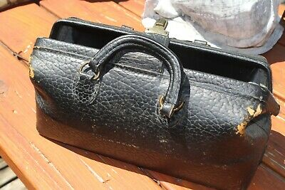 Vintage Lilly Black Leather Medical - Doctor's Travel Bag FOR RESTORATION-AS IS