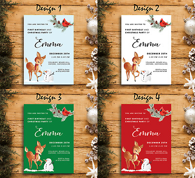 Winter Animals | Personalised Holiday Birthday Party Invites and Thank You Cards