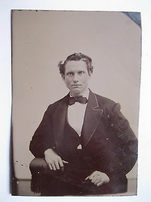Vintage Tintype Photo Victorian View of Man with Bow Tie