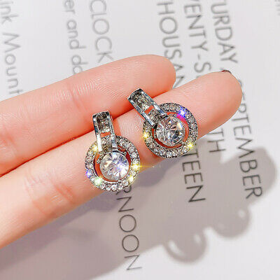 925 Silver Round White Sparkling Sapphire Circle CZ Ear Studs Earrings Jewelry