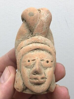 "Nice Large 3"" Tall Pre-Columbian Clay Effigy  Human Head Statue Doll Idol"