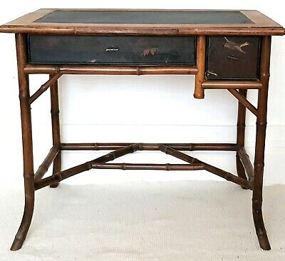 Victorian Chinoiserie bamboo writing desk, Japanned, antique bureau, secretaire.