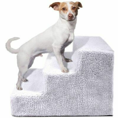 Soft Portable Cat Dog 3 Steps Ramp Small Climb Pet Step Stairs White