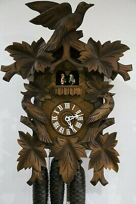 SUPERB 8 DAY CUCKOO CLOCK wth MUSICAL DANCING FIGURES AUTOMATA large size REGULA