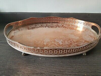 Antique Plate / Plated Large GALLERY TRAY TWIN HANDLES 4 Feet Silver on Copper