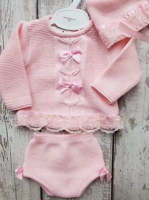 Spanish Style Baby Girl Pink Knitted Jumper, Jam Pants and Bonnet Set