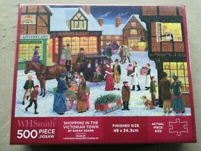 """WH Smith 500pce puzzle """"Shopping in the Vicrorian Town"""" by Sarah Adams, BNIB"""