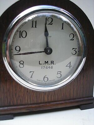 Vintage Railway  LMR mantle Clock with wooden case in working order
