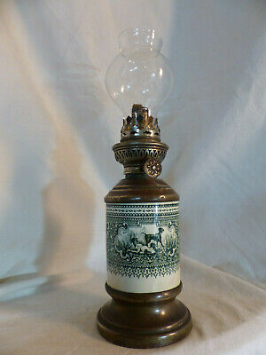 lampe a essence petrole ancienne style pigeon reservoir faience chien chasse