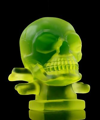 Art Deco Bohemian Vaseline Glass Car Mascot ' SKULL ' Sculpture H.Hoffmann