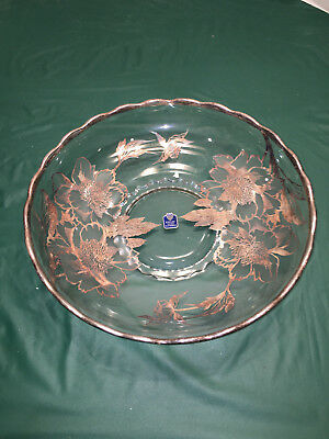 Large Serving PLate / Bowl Trimmed With Sterling Silver