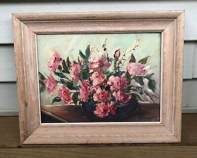 Helen Smith -Original Signed Painting of Roses Flowers Shabby Chic Vintage Art