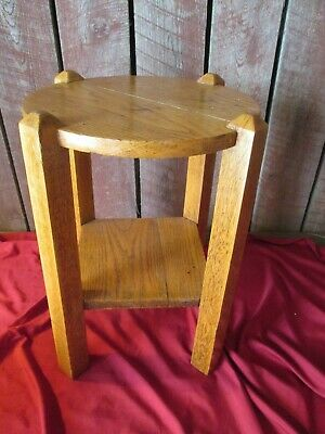 VTG Arts and Crafts Mission Solid Oak Plant Stand Side End Table Antique STURDY