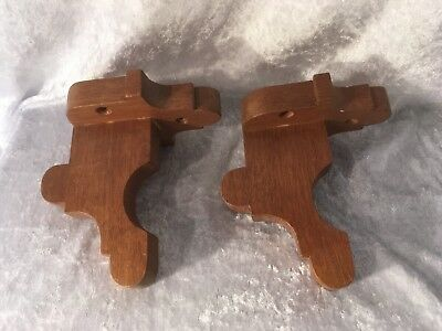Pair Wooden Curtain Pole Brackets
