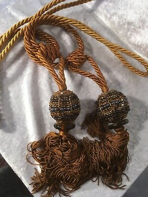 Pair Brown Beaded Curtain Tassle Tie Backs