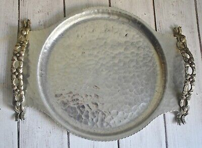 Vintage Rodney Kent Art Deco Hand Wrought Creations Hammered Aluminum Tray