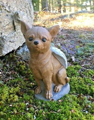 Chihuahua Dog Angel,  Concrete Garden Statue, Cement Pet Memorial, Marker, Brown