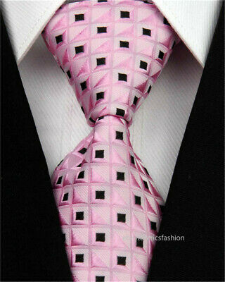 Mens Wedding Silk Tie Jacquard Woven Slim Necktie Pink Black Plaid Men Tie 3""