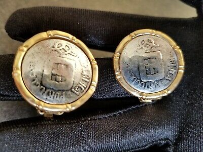 New VTG  Style Gold Silvertone Coin Ancient OLD ROMAN Style CLIP  EARRINGS