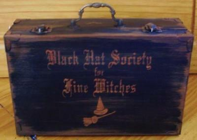 Primitive witch purse Black Hat Society witchcraft witches halloween box cats