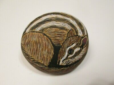 Chipmunk hand painted on a stone - pet rock - by Ann Kelly