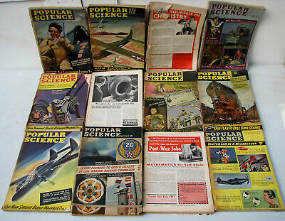 Lot of 12 Vintage 1944 Popular Science Magazine - Antique WWII - Complete Year