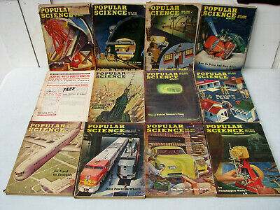 Lot of 12 Vintage 1946 Popular Science Magazine - Antique WWII - Complete Year