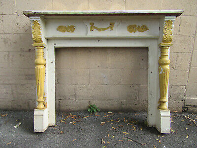 ~ Antique Carved Walnut Fireplace Mantel ~ 41.5 Opening ~ Architectural Salvage
