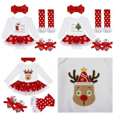 Newborn Baby Girls Christmas Deer Romper Outfits Long Sleeve Clothes Tops Pants