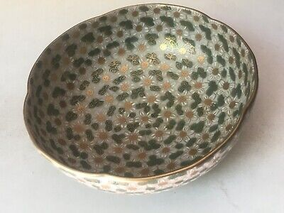 Antique Japanese Porcelain Bowl Green Plum Blossom Flowers Japan Yamatoku Kutani