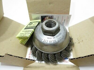 """Weiler 13156 3-1/2 in. Single Row Wire Cup Brush .023, 5/8""""-11 MADE IN USA"""