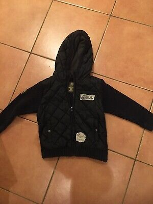 Boys Next Navy Padded/Knitted Hoodie Age 3-4 Yrs