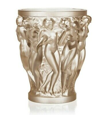 """Lalique Crystal  Bacchantes Vase Gold Luster 10547200 - Height 24cm/ 9.45"""" inch"""