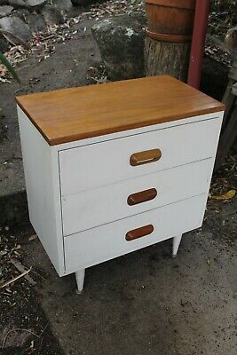 RETRO BEDSIDE Drawers ~ Solid Timber Vintage Mid Century Furniture / Side Table