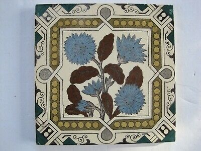 "Antique Victorian 6"" Floral Transfer Print & Tint Wall Tile - Blue Cornflowers"
