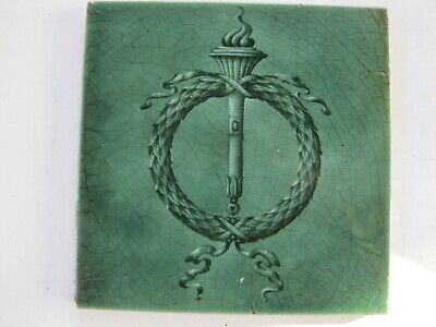 ANTIQUE MAJOLICA GLAZED ART NOUVEAU TILE - H & R JOHNSON - c1906 WREATH & TORCH
