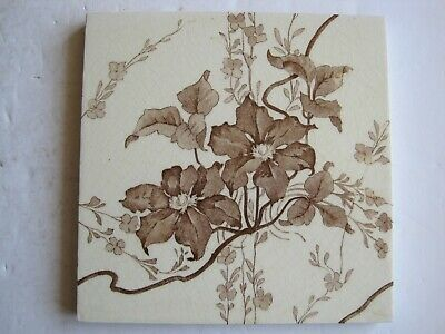 ANTIQUE VICTORIAN MINTONS TRANSFER PRINT BROWN FLORAL TILE No.2863 C1898