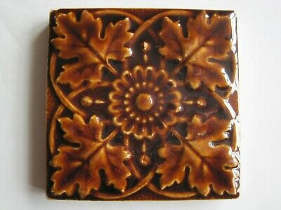 """Antique Victorian T A Simpson Moulded And Majolica Glazed 3 1/8"""" Tile C1885-90"""