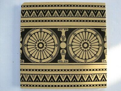 ANTIQUE VICTORIAN MINTONS BLACK ON BUFF AESTHETIC BORDER WALL TILE c1868-1900