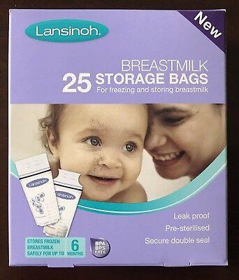 Brand New - 25 Breastmilk Storage Bags - Lansinoh